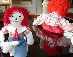 Raggedy Andy and Raggedy Ann sewn by Susan Kramer