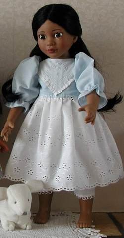 18 inch doll dress on Magic Attic doll Rose; photo credit Susan Kramer