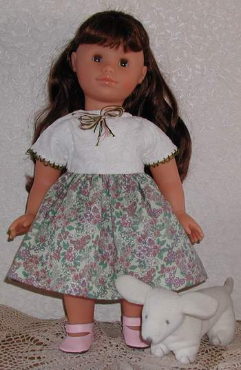 finished view ofcap sleeve dress for 18 inch dolls