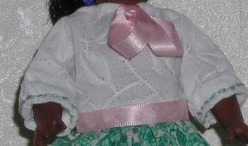 dress detail for 6.5 - 8 inch doll; photo credit Susan Kramer