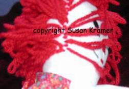 Raggedy Andy and Raggedy Ann hair sewn by Susan Kramer