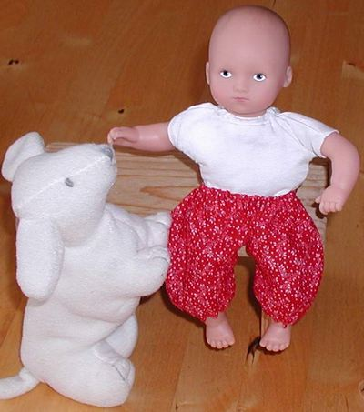 pants for 8 inch mini baby doll; photo credit Susan Kramer