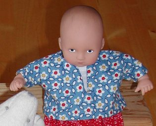 shirt for 8 inch mini baby doll; photo credit Susan Kramer