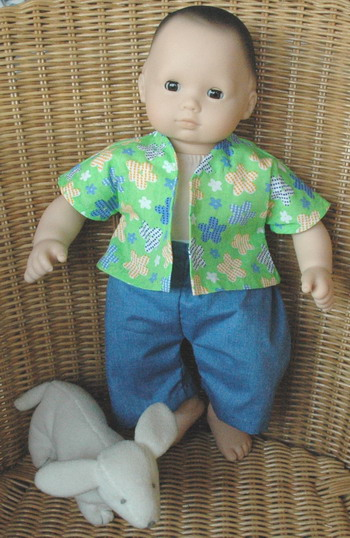 Bitty Baby in boy shirt and pants - medium size baby doll