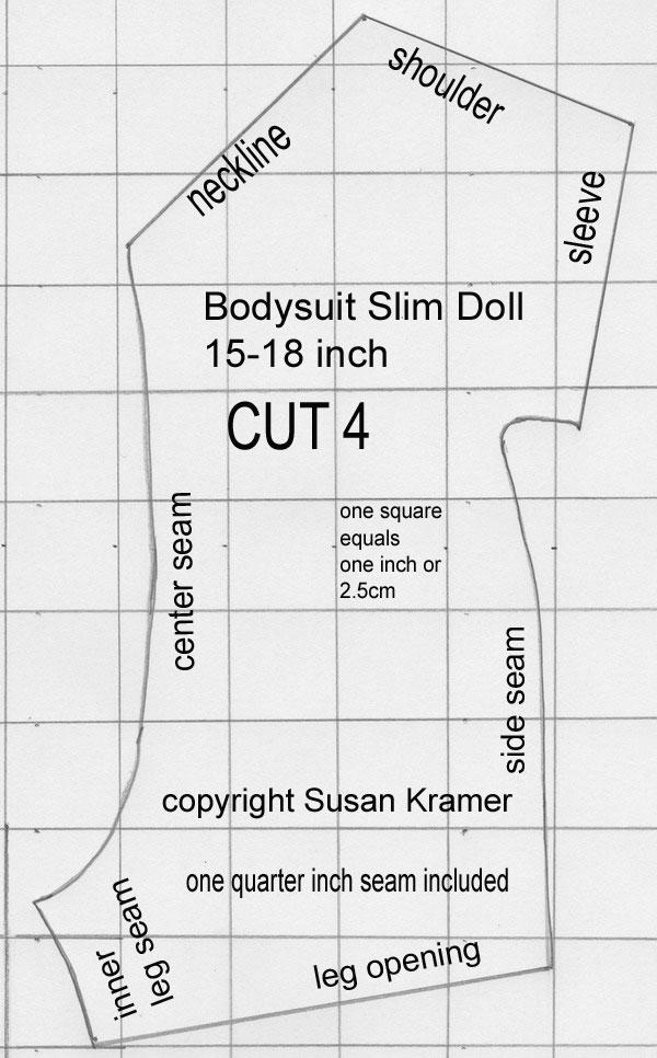 Description: bodysuit pattern for slim 15-18 inch dolls