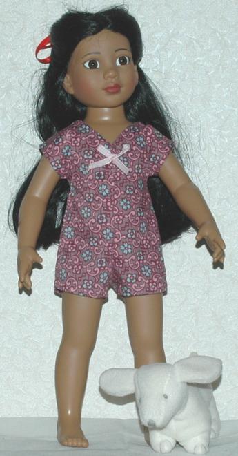 Description: 18 inch Magic Attic doll, Rosa in bodysuit; photo credit Susan Kramer