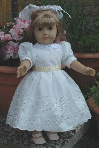 Description: American Girl 18 inch doll in Royal Bridesmaid Dress