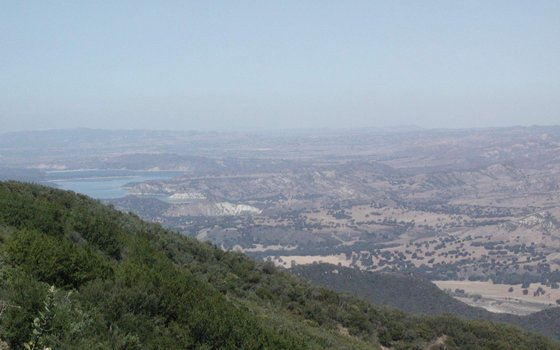 Description: Lake Cachuma at left in Santa Ynez Valley, CA. Photo credit Susan Kramer.