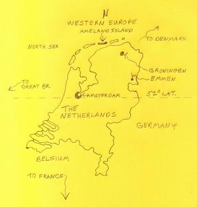 The Netherlands in Western Europe; Amsterdam is 52 degrees latitude
