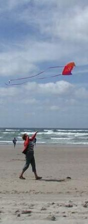 Photo of flying a kite at the beach