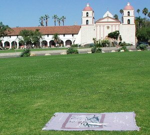 preparing to meditate next to the rose garden at Mission Santa Barbara