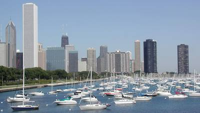Chicago skyline and boats on Lake Michigan; photo credit Stan Schaap