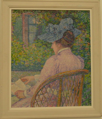 Photo credit Susan Kramer. Painting by Theo van Rijsselberghe, Woman wearing a blue hat,1900