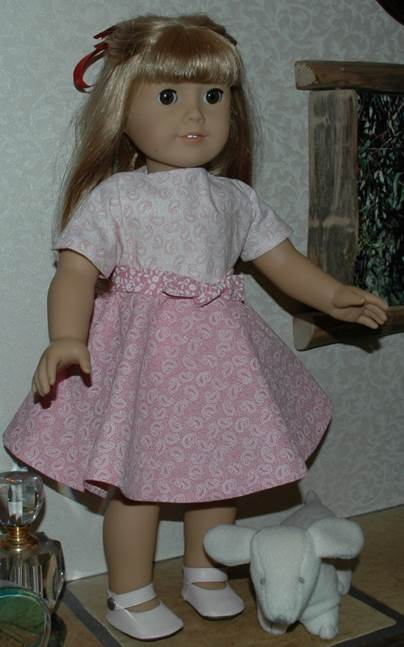 fb84a515a Short Sleeve Dress with Circle Skirt for American Girl Type 18 Inch Dolls